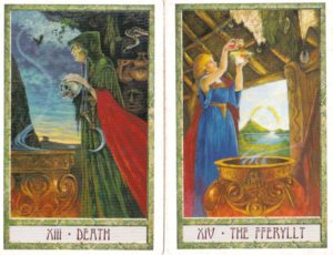 Death and The Fferyllt from The DruidCraft Tarot